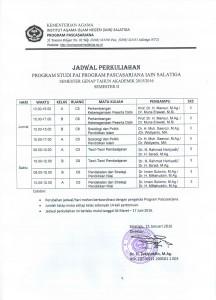 Jadwal Kuliah PAI 2016