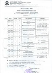 Jadwal Kuliah Supervisi 2016